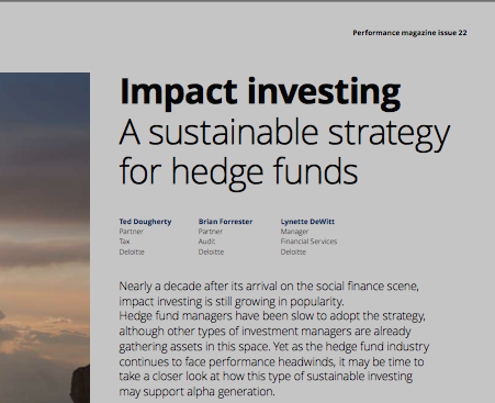 Impact Investing: A sustainable Strategy for Hedge Funds